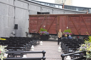 Steam Whistle Brewery Outdoor Wedding Ceremony on Patio
