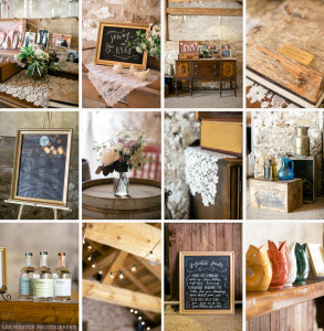 Rustic wedding decorations at Cambridge Slit Barn